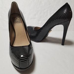 {Pour La Victoire} Black Stiletto Striped Heels